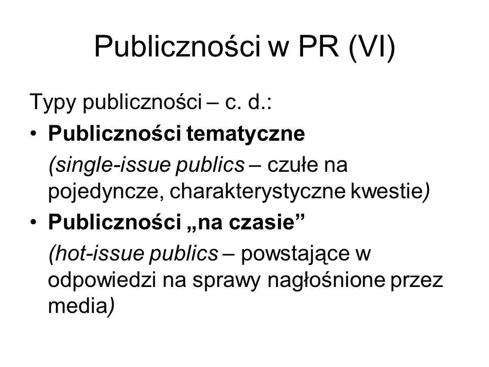 Publiczności w PR (VI) Typy publiczności – c. d.: