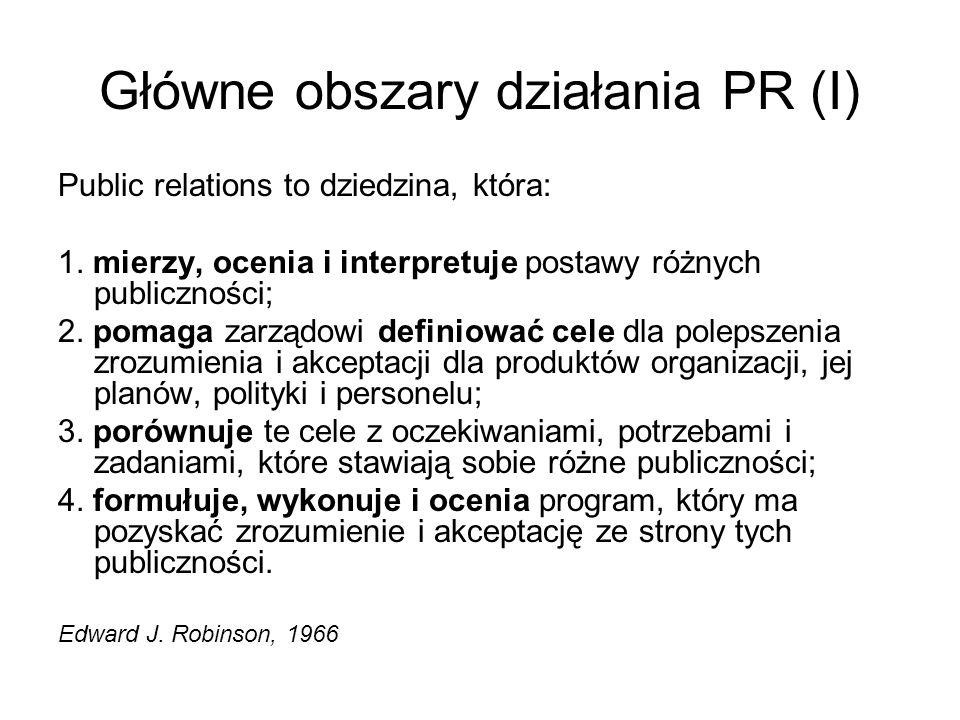 Główne obszary działania PR (I)