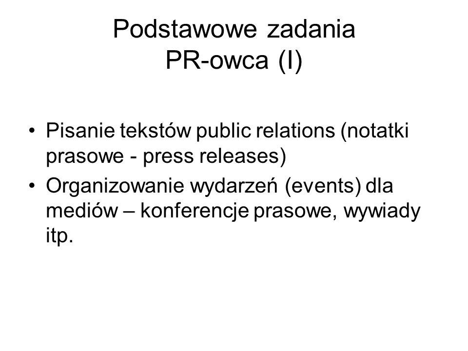 Podstawowe zadania PR-owca (I)