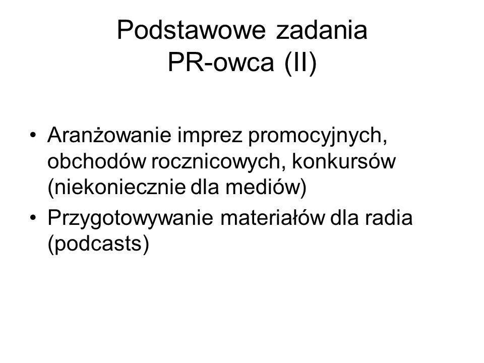 Podstawowe zadania PR-owca (II)