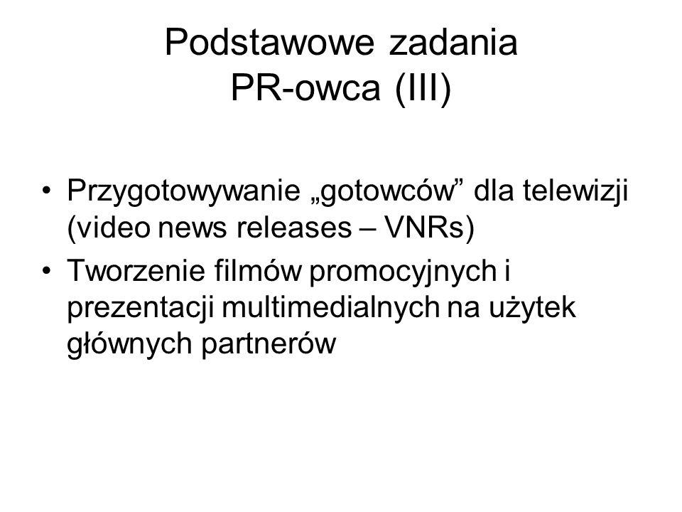 Podstawowe zadania PR-owca (III)