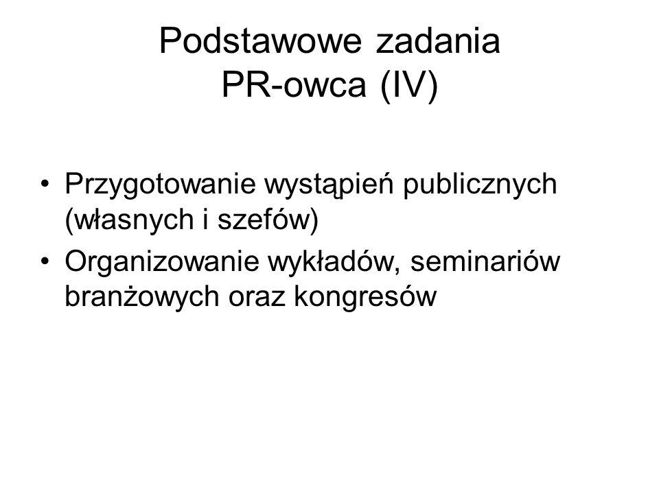 Podstawowe zadania PR-owca (IV)