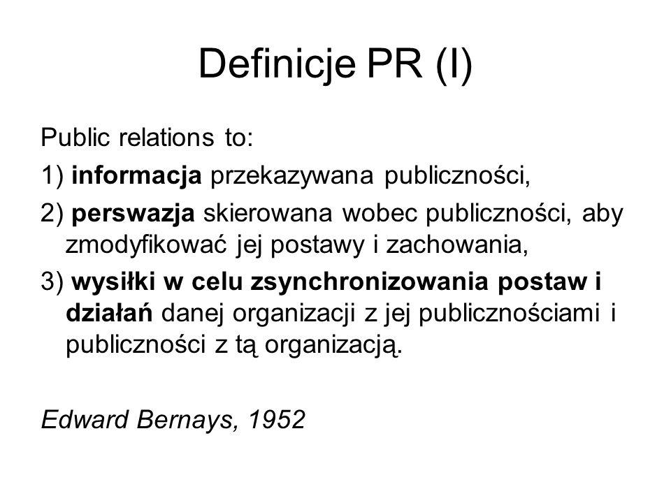 Definicje PR (I) Public relations to: