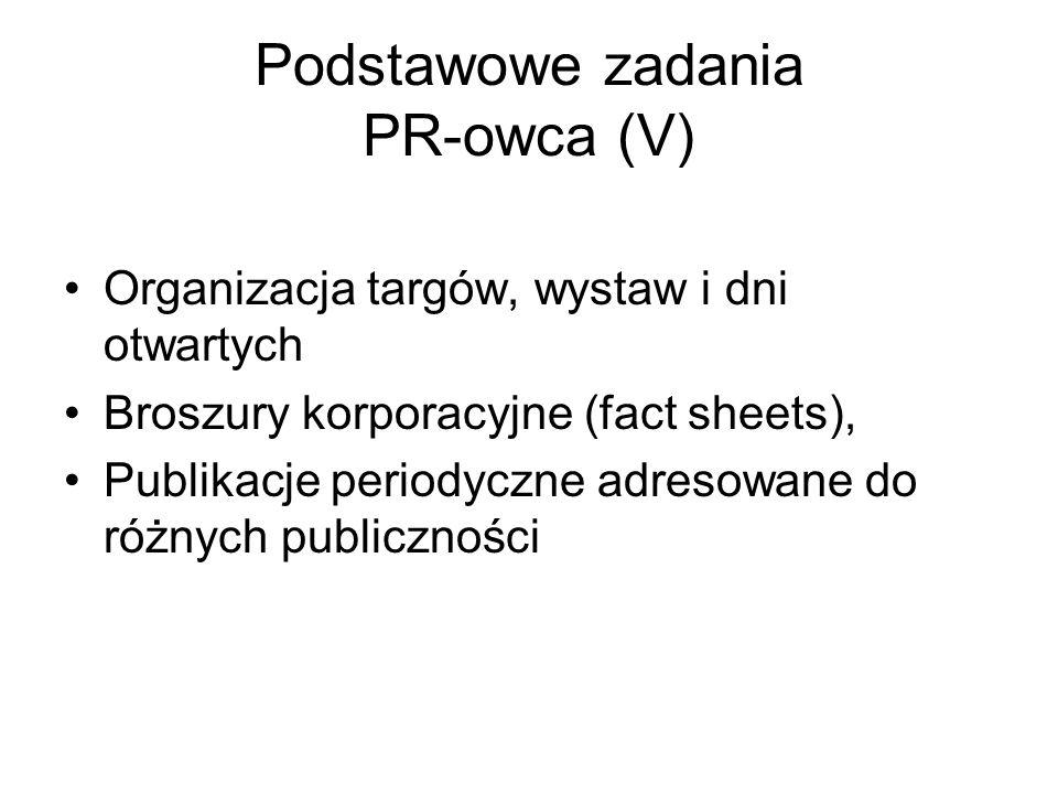 Podstawowe zadania PR-owca (V)