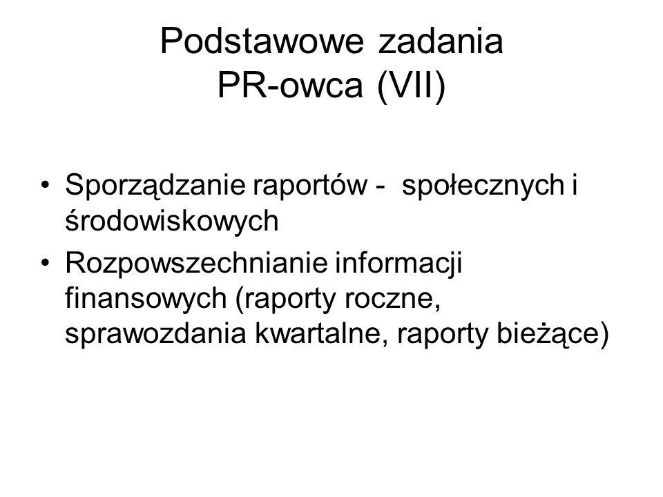 Podstawowe zadania PR-owca (VII)