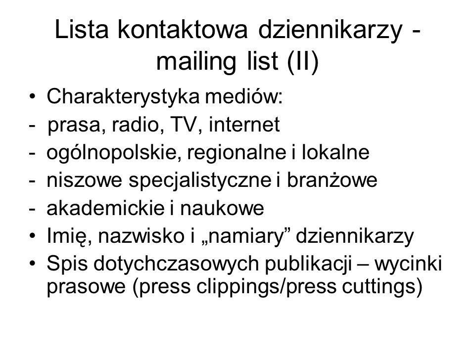 Lista kontaktowa dziennikarzy - mailing list (II)