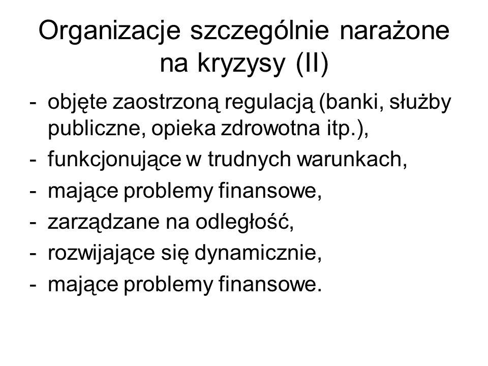 Organizacje szczególnie narażone na kryzysy (II)