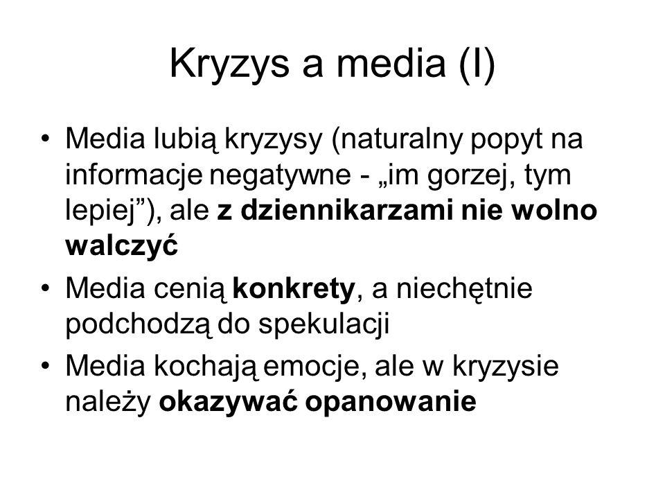 """Kryzys a media (I) Media lubią kryzysy (naturalny popyt na informacje negatywne - """"im gorzej, tym lepiej ), ale z dziennikarzami nie wolno walczyć."""