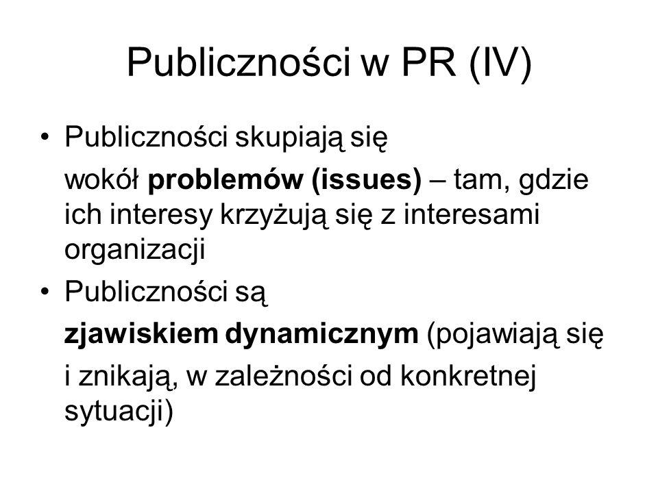 Publiczności w PR (IV) Publiczności skupiają się