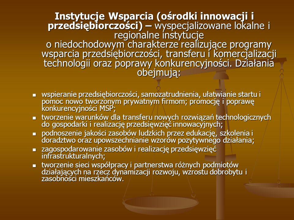 Instytucje Wsparcia (ośrodki innowacji i przedsiębiorczości) – wyspecjalizowane lokalne i regionalne instytucje o niedochodowym charakterze realizujące programy wsparcia przedsiębiorczości, transferu i komercjalizacji technologii oraz poprawy konkurencyjności. Działania obejmują: