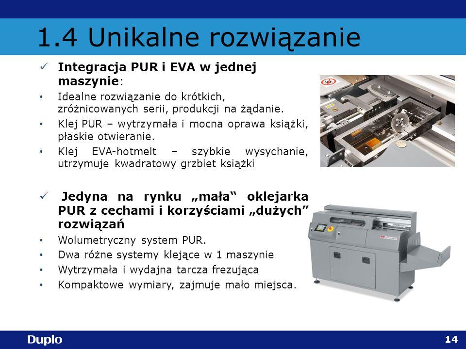 1.4 Unikalne rozwiązanie Integracja PUR i EVA w jednej maszynie: