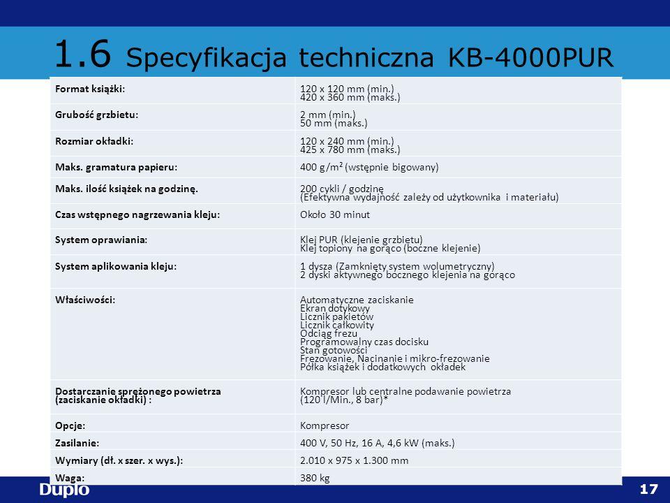 1.6 Specyfikacja techniczna KB-4000PUR