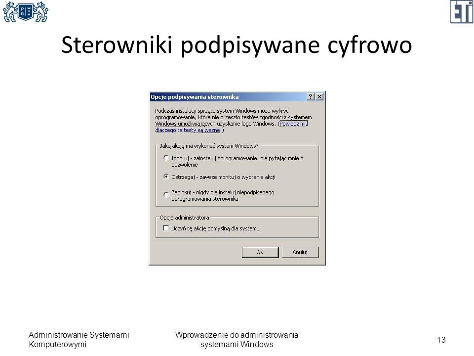 Sterowniki podpisywane cyfrowo