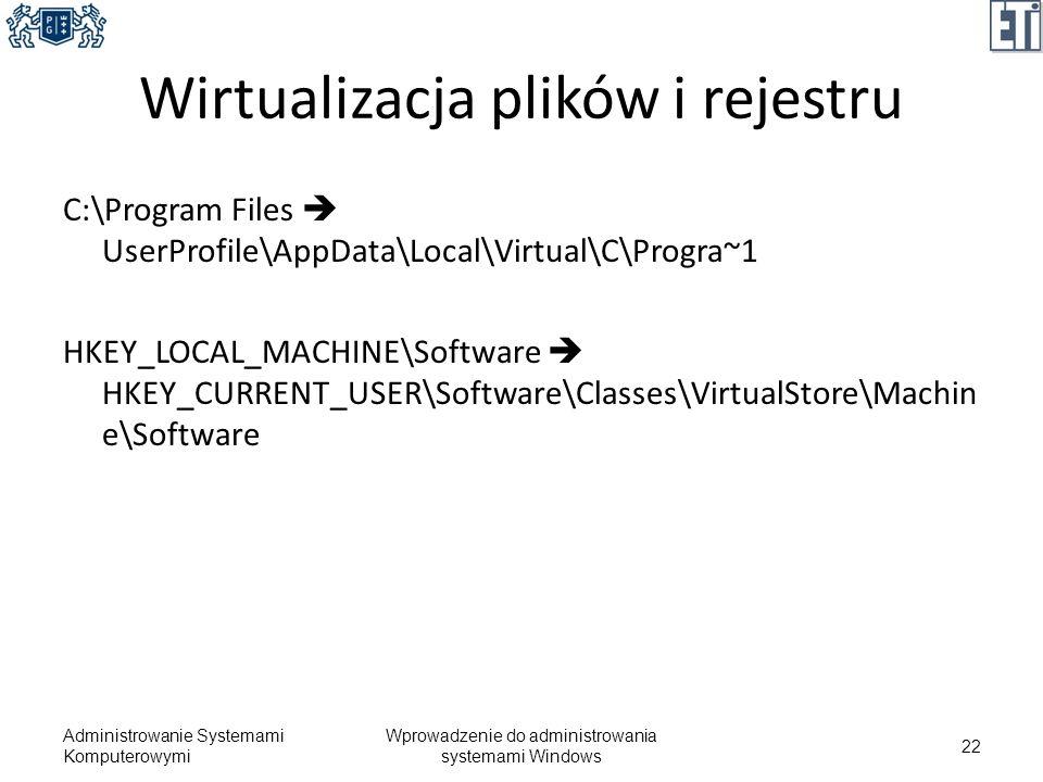 Wirtualizacja plików i rejestru