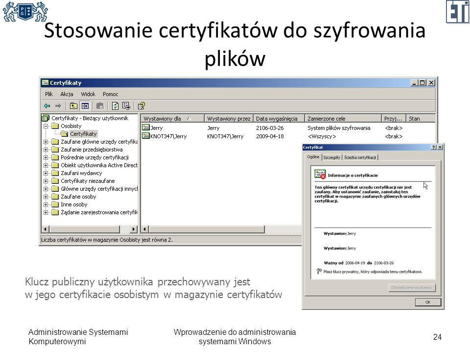 Stosowanie certyfikatów do szyfrowania plików