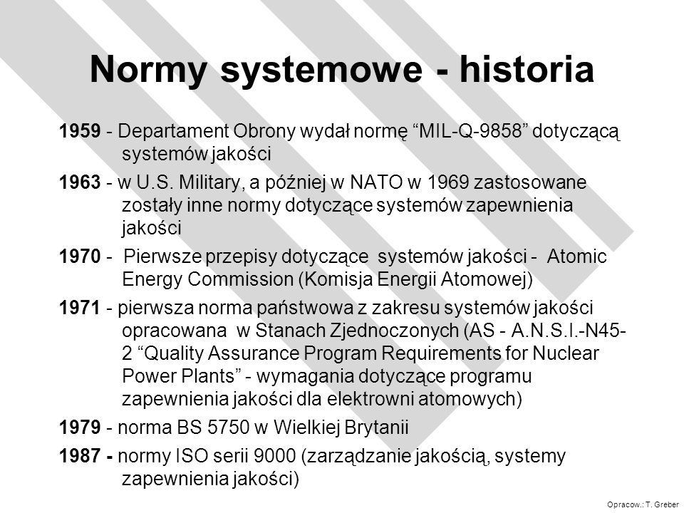 Normy systemowe - historia