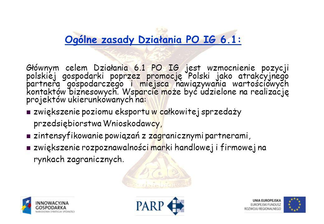 Ogólne zasady Działania PO IG 6.1: