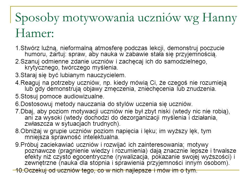Sposoby motywowania uczniów wg Hanny Hamer: