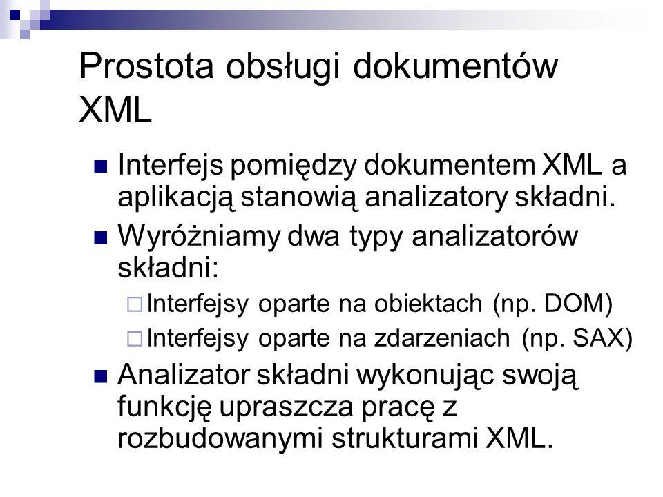 Prostota obsługi dokumentów XML