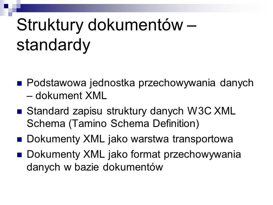 Struktury dokumentów – standardy