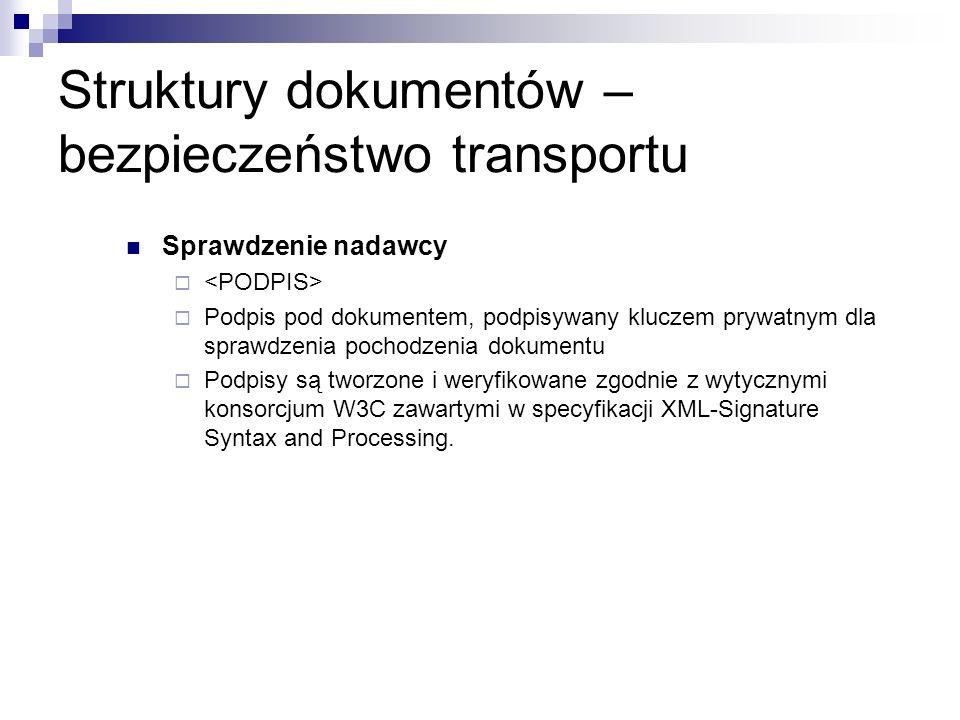 Struktury dokumentów – bezpieczeństwo transportu