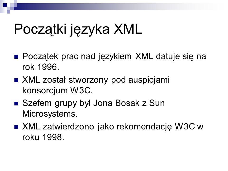 Początki języka XML Początek prac nad językiem XML datuje się na rok 1996. XML został stworzony pod auspicjami konsorcjum W3C.