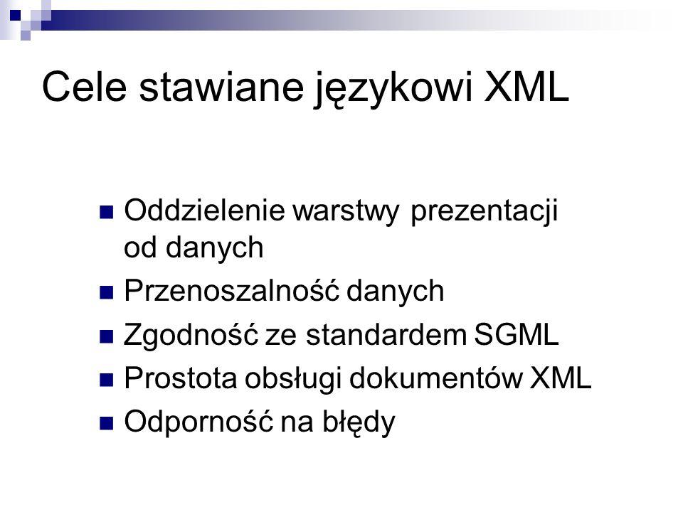 Cele stawiane językowi XML