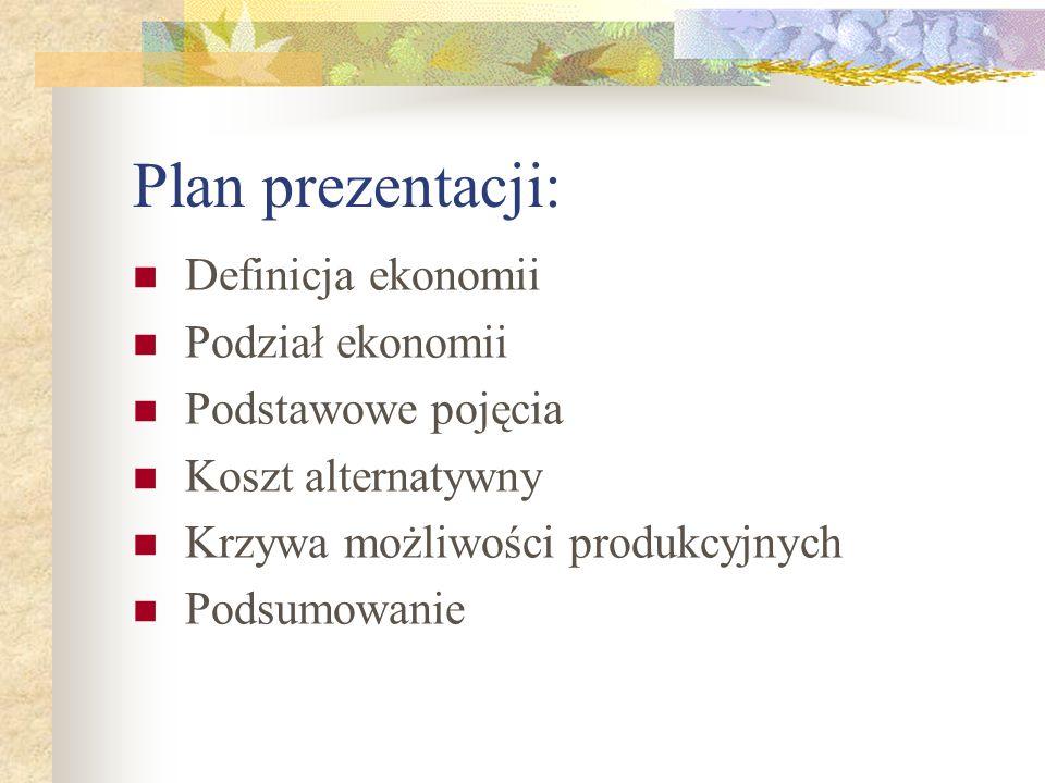 Plan prezentacji: Definicja ekonomii Podział ekonomii