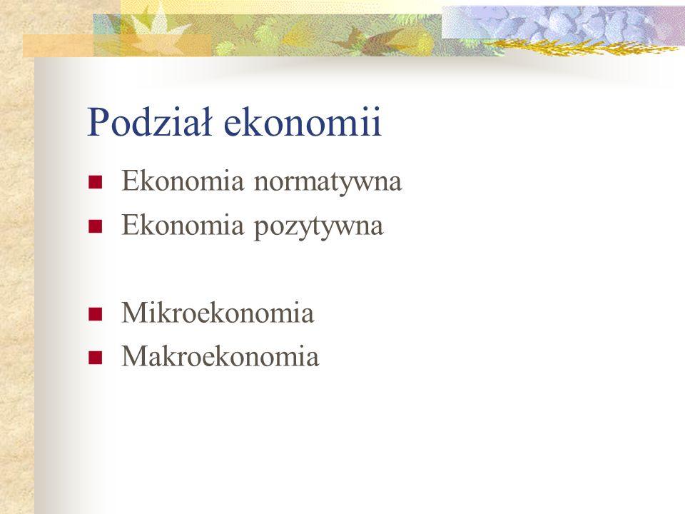Podział ekonomii Ekonomia normatywna Ekonomia pozytywna Mikroekonomia