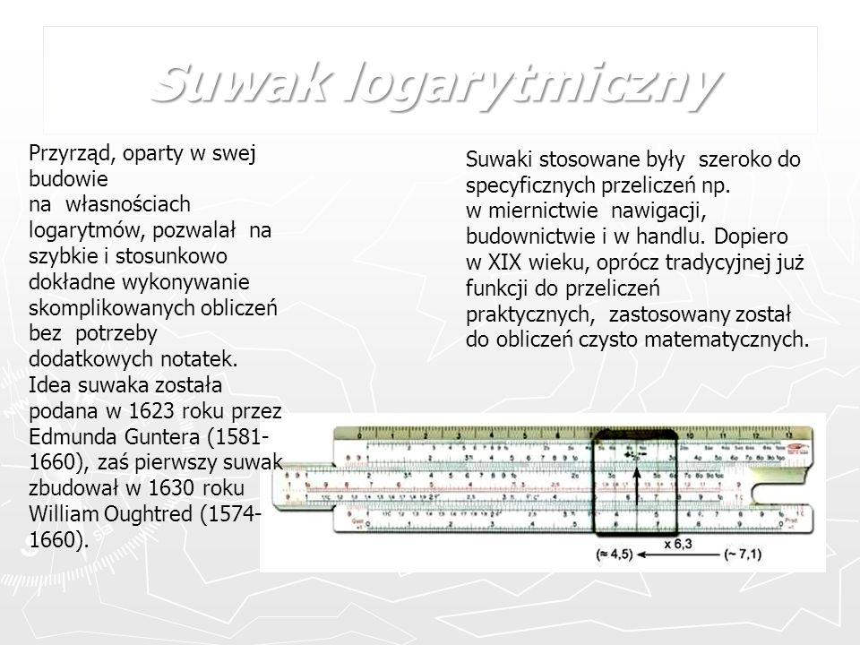 Suwak logarytmiczny Przyrząd, oparty w swej budowie na własnościach