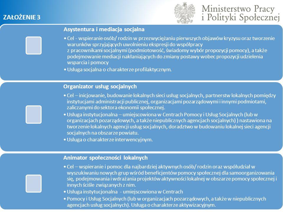 ZAŁOŻENIE 3 Asystentura i mediacja socjalna