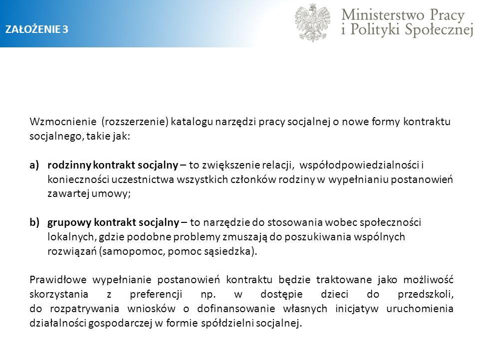 ZAŁOŻENIE 3 Wzmocnienie (rozszerzenie) katalogu narzędzi pracy socjalnej o nowe formy kontraktu socjalnego, takie jak: