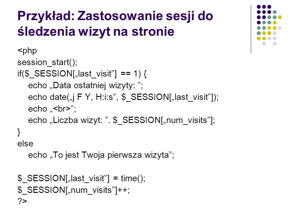 Przykład: Zastosowanie sesji do śledzenia wizyt na stronie