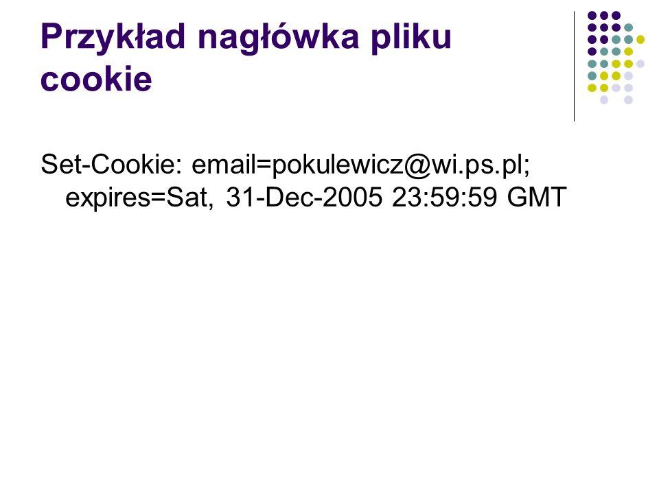 Przykład nagłówka pliku cookie