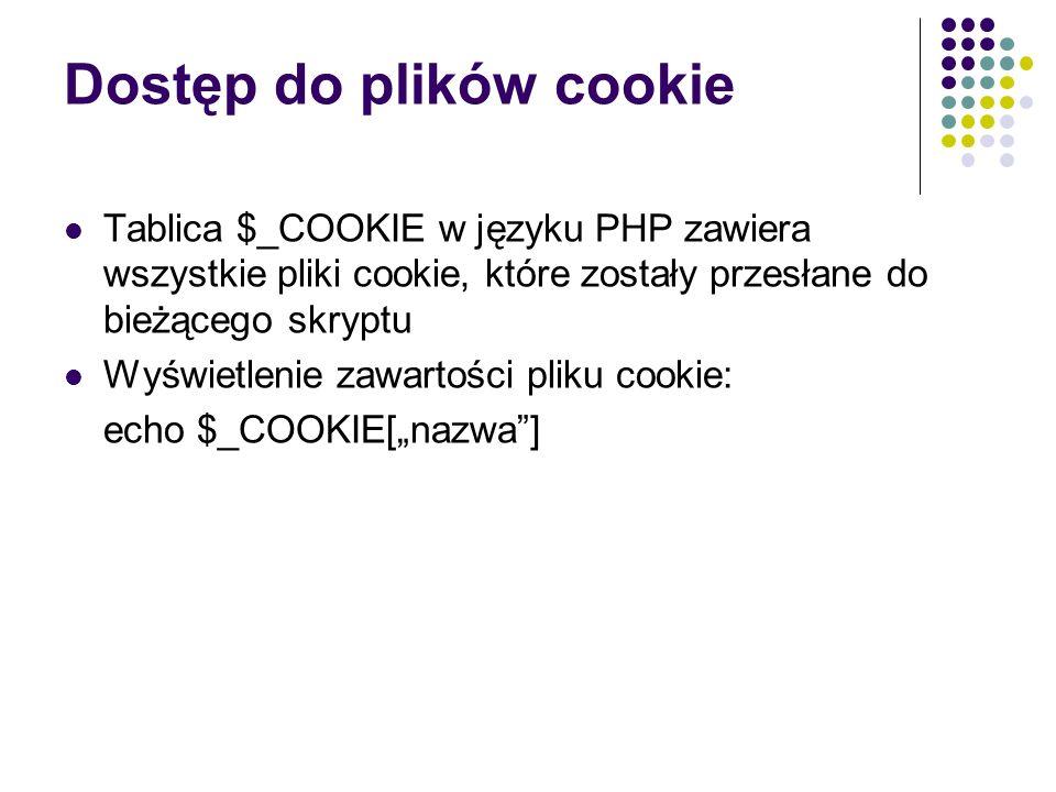 Dostęp do plików cookie