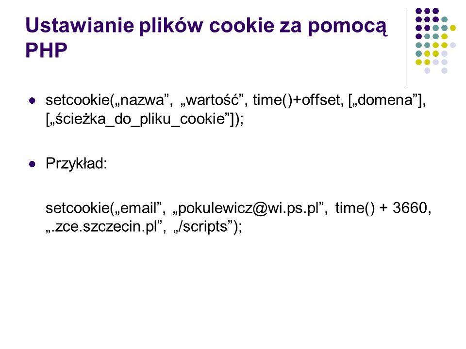 Ustawianie plików cookie za pomocą PHP