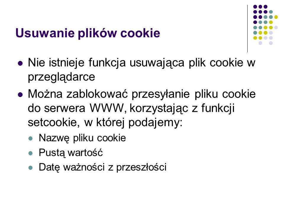 Usuwanie plików cookie
