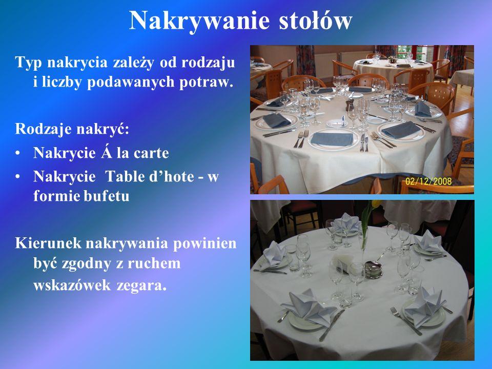 Nakrywanie stołów Typ nakrycia zależy od rodzaju i liczby podawanych potraw. Rodzaje nakryć: Nakrycie Á la carte.