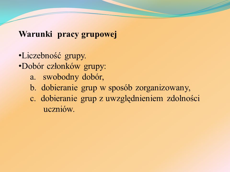 Warunki pracy grupowej