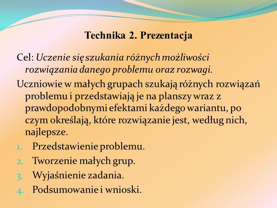 Technika 2. Prezentacja Cel: Uczenie się szukania różnych możliwości rozwiązania danego problemu oraz rozwagi.