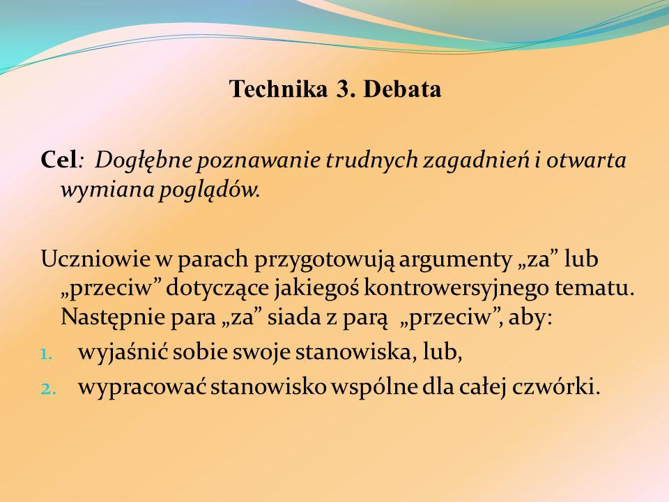 Technika 3. Debata Cel: Dogłębne poznawanie trudnych zagadnień i otwarta wymiana poglądów.