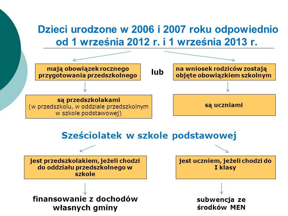 Dzieci urodzone w 2006 i 2007 roku odpowiednio od 1 września 2012 r