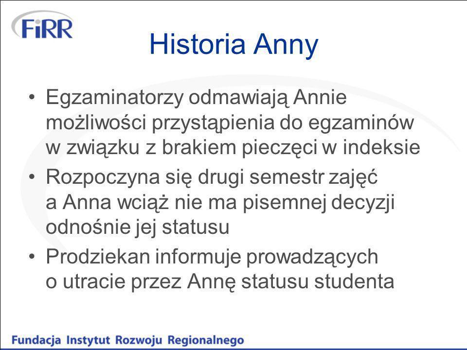 Historia AnnyEgzaminatorzy odmawiają Annie możliwości przystąpienia do egzaminów w związku z brakiem pieczęci w indeksie.