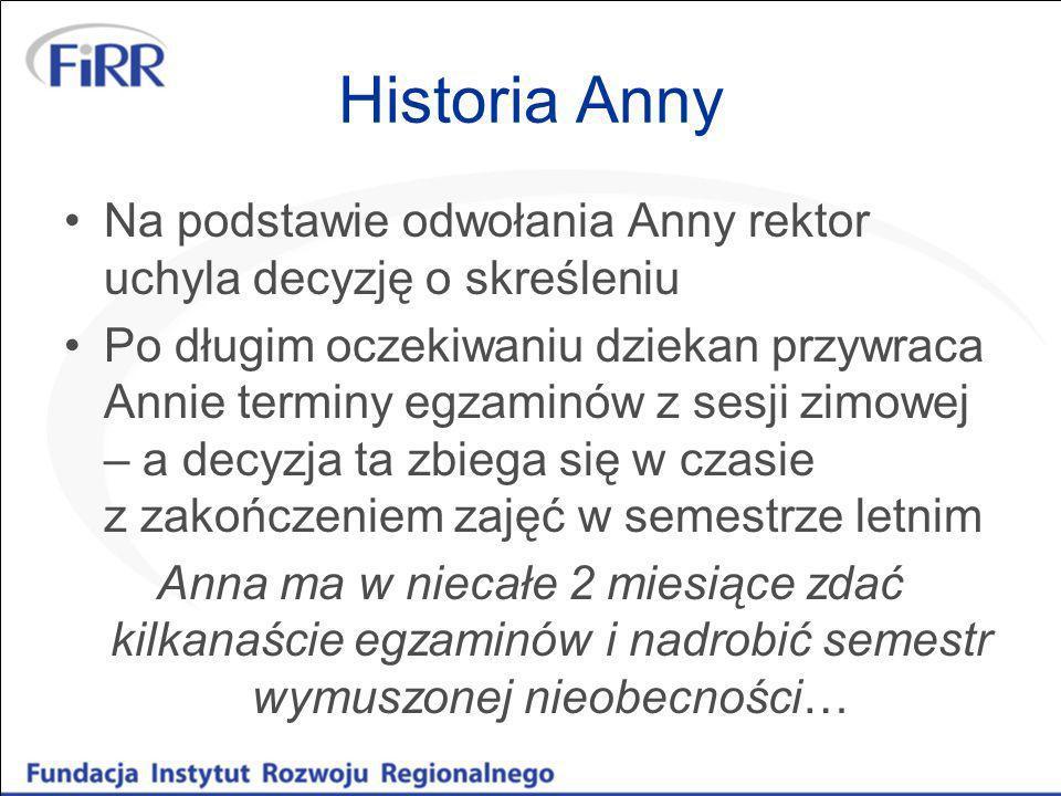 Historia Anny Na podstawie odwołania Anny rektor uchyla decyzję o skreśleniu.