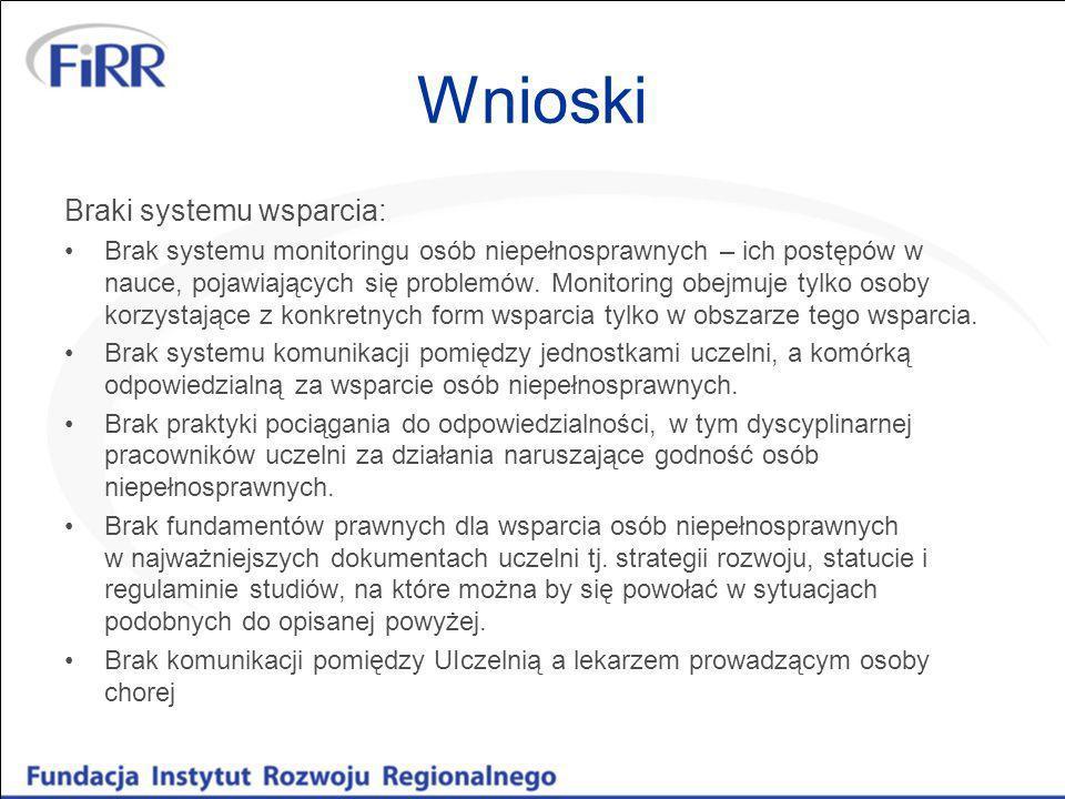 Wnioski Braki systemu wsparcia: