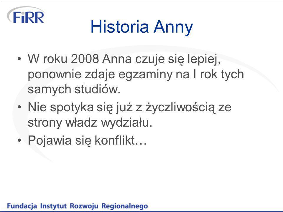 Historia AnnyW roku 2008 Anna czuje się lepiej, ponownie zdaje egzaminy na I rok tych samych studiów.