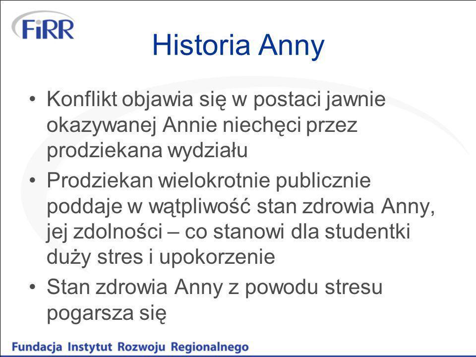 Historia AnnyKonflikt objawia się w postaci jawnie okazywanej Annie niechęci przez prodziekana wydziału.