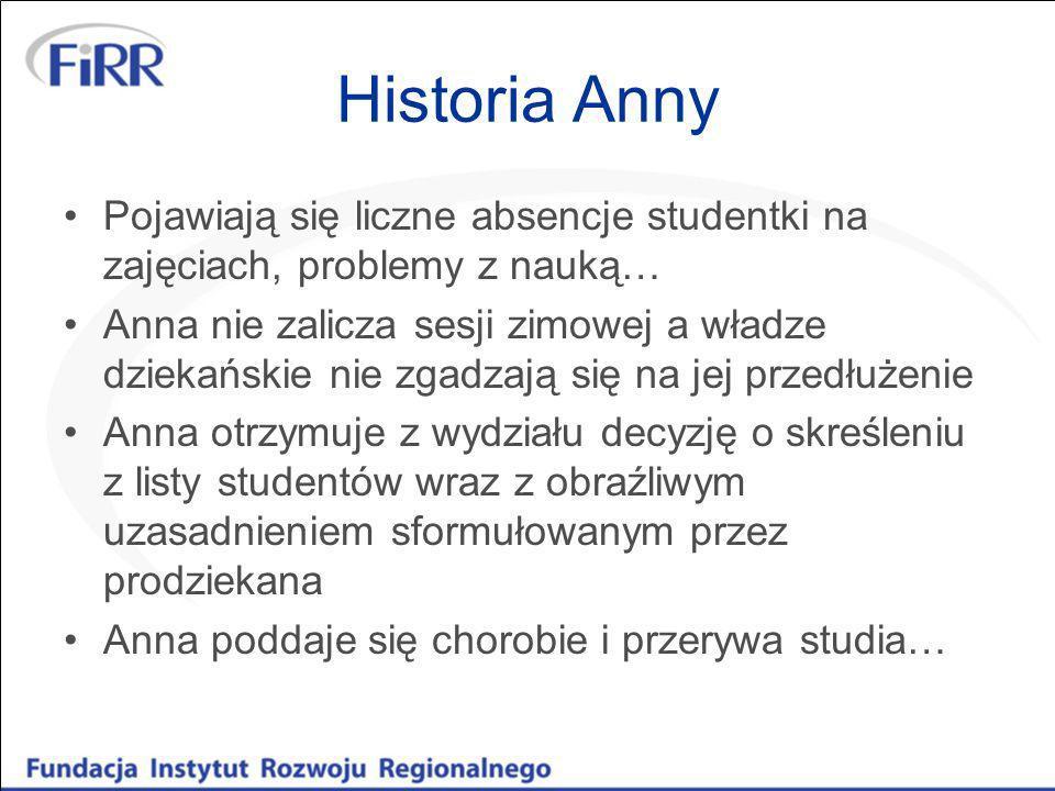 Historia Anny Pojawiają się liczne absencje studentki na zajęciach, problemy z nauką…