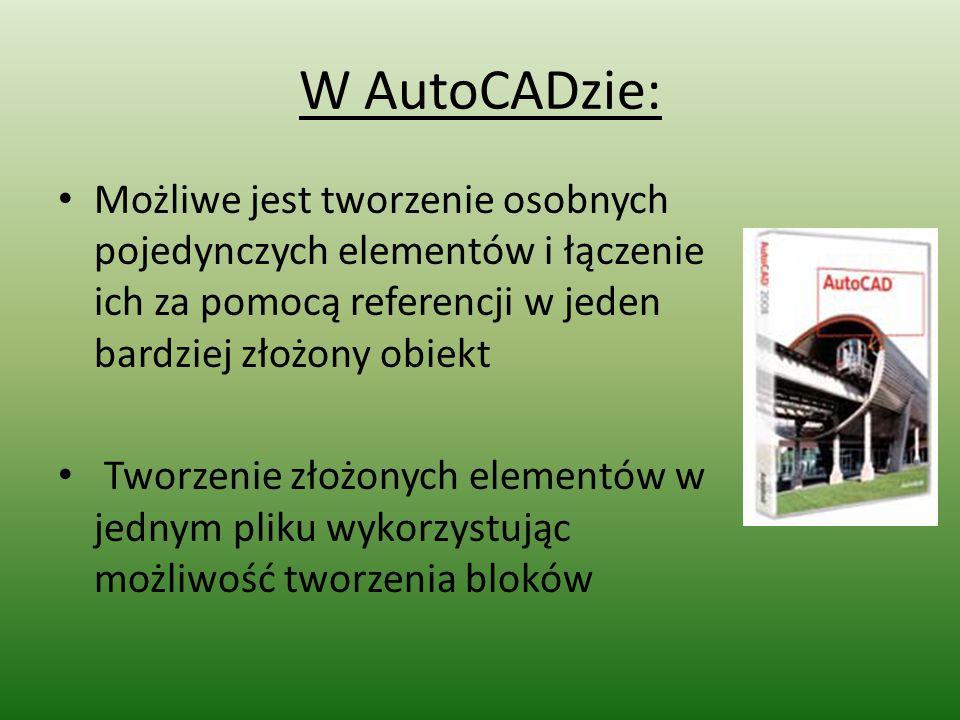 W AutoCADzie: Możliwe jest tworzenie osobnych pojedynczych elementów i łączenie ich za pomocą referencji w jeden bardziej złożony obiekt.