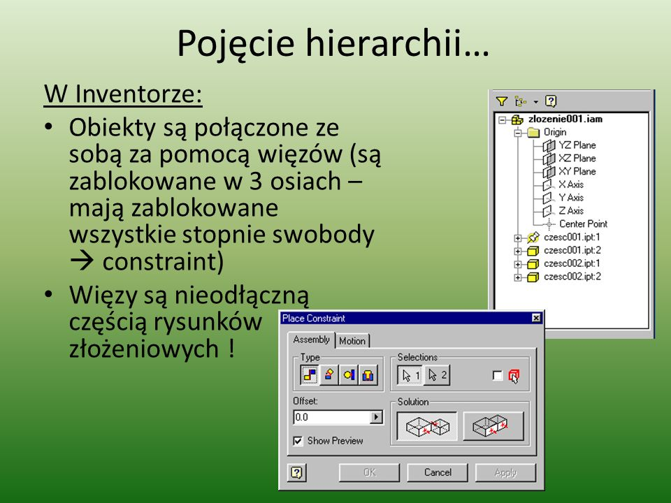 Pojęcie hierarchii… W Inventorze: